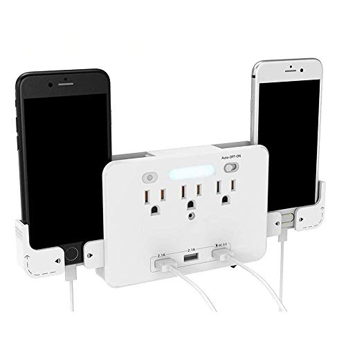 Finduat 3 AC Multi Outlets 1800W Surge Protection Wall Mount Socket with Intelligent Night Light And 1 Quick Charger 3.0 USB Port,2 USB Ports (2.1A Max) And 2 Shrinkable Slide Out Phone Holders