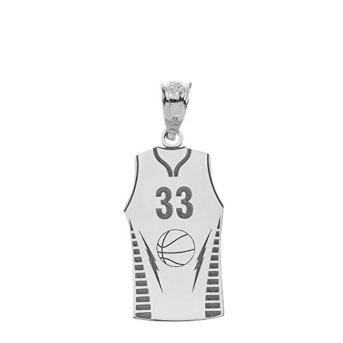 Personalized 925 Sterling Silver Sports Basketball Jersey Pendant with Your Name and Number