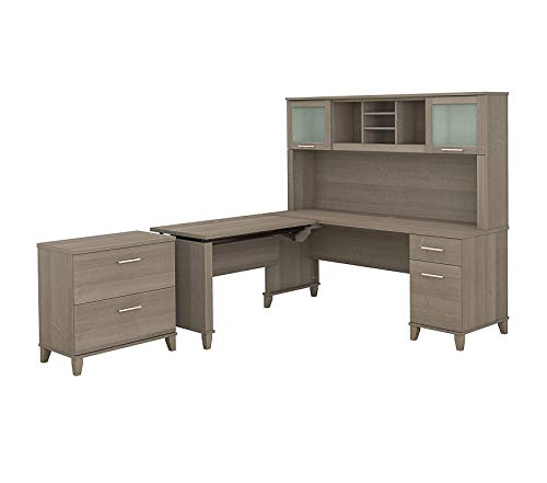 Wood & Style Furniture 72W 3 Position Sit to Stand L Shaped Desk with Hutch and File Cabinet in Ash Gray Premium Office Home Durable Strong