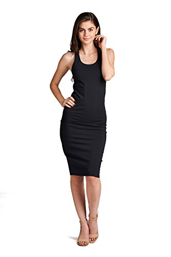 Emmalise Juniors Women Casual Basic Tank Dress Shirt with Racerback - Midnight Black, S