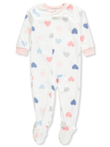 Carter's Baby Girl Heart Snap-Up Fleece Sleep & Play,White/Multi,18 Months