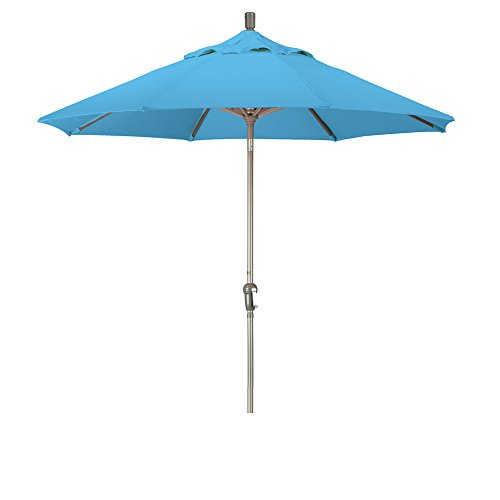 California Umbrella 9' Round Aluminum Market Umbrella, Crank Lift, Auto Tilt, Champagne Pole, Pacifica Capri