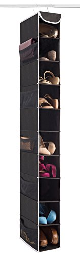 "ZOBER 10-Shelf Hanging Shoe Organizer, Shoe Holder for Closet - 10 Mesh Pockets for Accessories - Breathable Polypropylene, Black - 5 ½"" x 10 ½"" x 54"""
