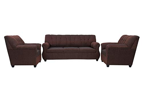 e Furniture   Arica 3+1+1 Sofa Sets in Jute Fabric, Brown Color   Living Room Furniture
