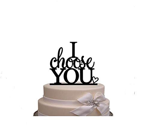 (I Choose You Cake Topper Wedding Cake Topper Anniverary Family Bride Groom Kissing Love Couple Party Decoration)