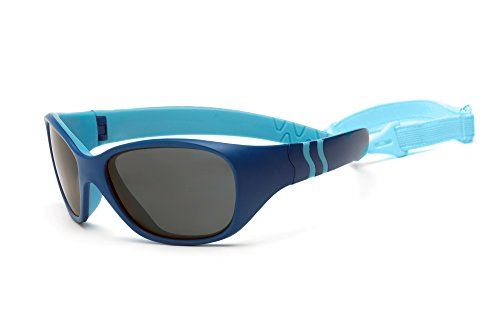 Real Kids Shades Adventure Sunglasses for Baby, Toddler, Kid - 100% UVA UVB Protection, Polycarbonate Lenses, Unbreakable, Wrap Around Frames (Baby 0+, Royal/Light Blue, ()