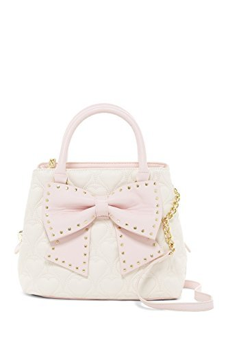 Betsey Johnson Quilted Heart Cream Pink Faux Leather Studded Bow Bucket Handbag Shoulder (Bow Trim Shoulder Bag)