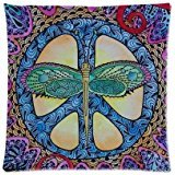 "Custom Popular Peace Sign With Dragonfly Art Pattern Zippered Pillow Case Decor Cushion Cover Square 16"" x 16"" Inch (Twin Sides)"