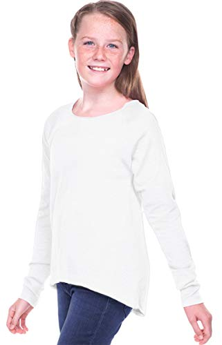 Long Jersey Sheer Sleeve Tee (Kavio Girls 7-16 Sheer Jersey Raw Edge Raglan High Low Long Sleeve White L)