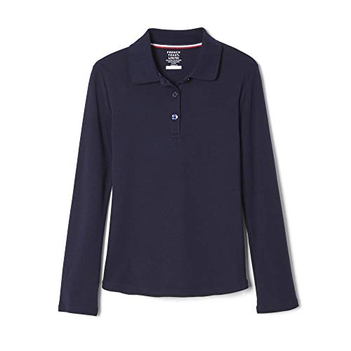 French Toast Big Girls L/S Fitted Knit Polo with Picot Collar - Navy, 10/12