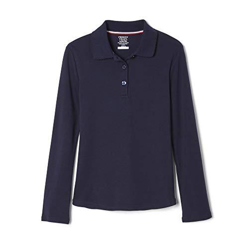 French Toast Big Girls' Long Sleeve Interlock Polo with Picot Collar, Navy, X-Large/14/16 (Sleeved Uniform Long Shirts Girls)