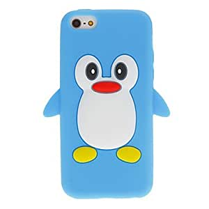 Cartoon Style 3D Penguin Pattern Silicone Soft Case for iPhone 5C (Assorted Colors) --- COLOR:Black