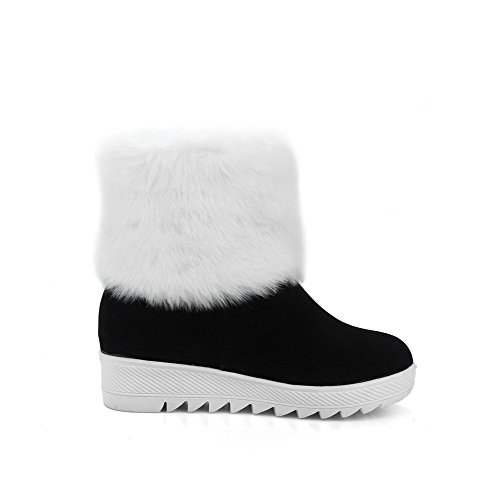 Allhqfashion Mujeres Round Closed Toe Kitten-heels Frost Low Top Solid Botas Negras