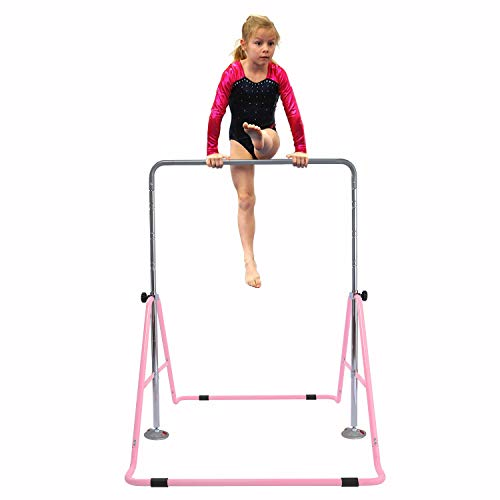 GT Sports Gymnastics Bar Expandable Junior Training Bar Folding Horizontal Bars for Kids (Pink), Pink
