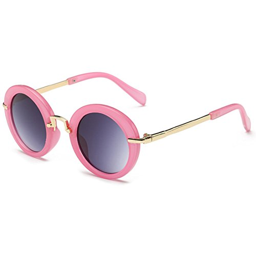 Sunglasses Inlefen Glasses Rosa Jelly UV Protección Sun Fashion Sun Eyes Round New Children's Frame qASqPr