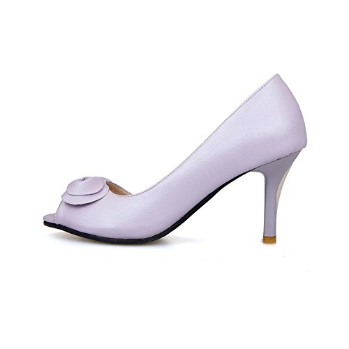 Solid Pull Heels Peep PU High Purple on AmoonyFashion Sandals Heeled Toe Womens Aq5wSSO