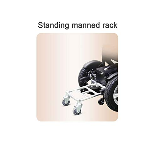 Lightweight Electric Wheelchair Ultra Portable Automatic Folding High Power Dual Motor Intelligent Brake (Color : Standing Manned Rack)