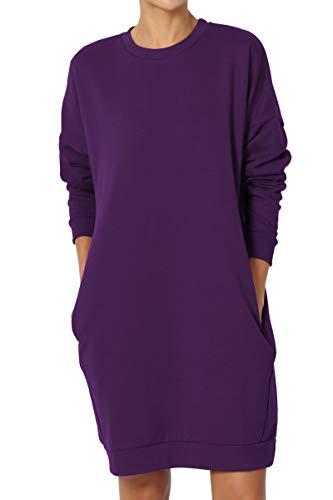 TheMogan Women's Casual Crew Neck Pocket Loose Sweatshirt Tunic Dark Purple S/M