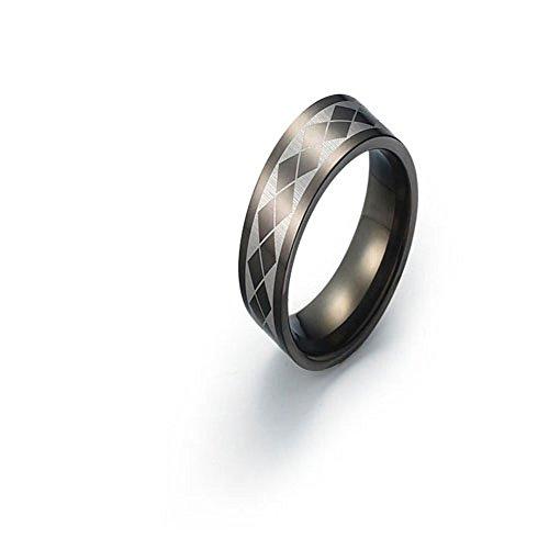 6mm Black Titanium Ring Wedding Band Cross Diamond Design Comfort Fit SZ 6-12 Free Engraving Service