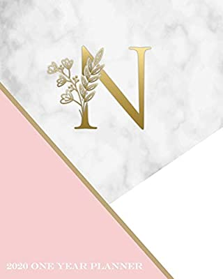 N - 2020 One Year Planner: Elegant Gold Pink and Marble ...