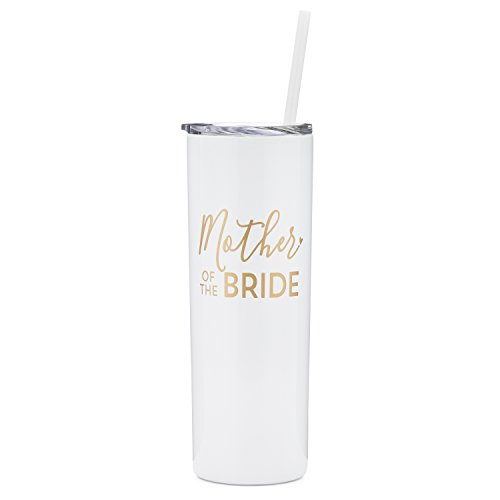 Mother of The Bride - 20 oz Stainless Steel Skinny Tumbler (White and Gold)