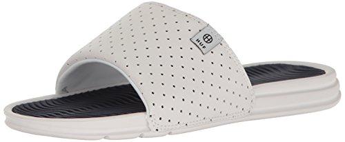 HUF Men's Slide Sandal, White/Navy, 9 US/9 M US