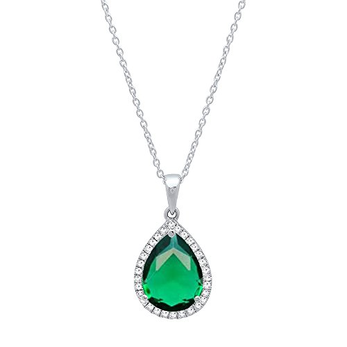 (Dazzlingrock Collection 18K 10X7 MM Pear Cut Lab Created Emerald & Round Cut Diamond Ladies Pendant, White)