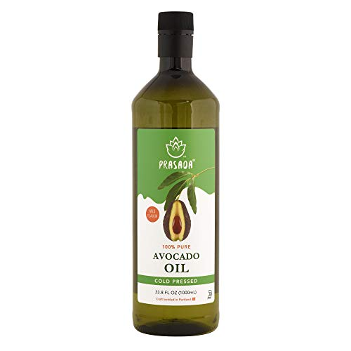 Prasada 100% Pure Avocado Oil (1,000ml) -Refined, Cold Pressed, BPA-Free Food-Grade Plastic Bottle | Excellent for Frying, Sautéing, Salads and Cosmetic Uses