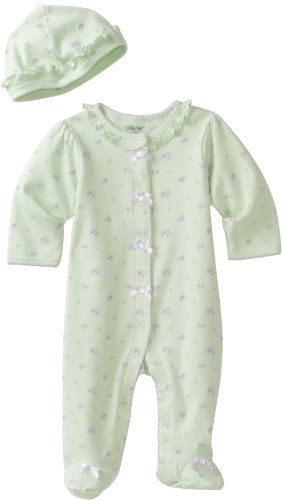 (Little Me Baby Girl Newborn Petite Rose Footie and Hat, Light Green)
