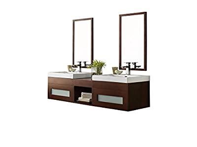 RONBOW Rebecca 62 inch Wall Mount Bathroom Vanity Set in Dark Cherry, Frosted Glass Bathroom Vanity Cabinet with Drawer and Mirror, White Bathroom Sink Top with Single Faucet Hole 010123-1-H01_Kit_2