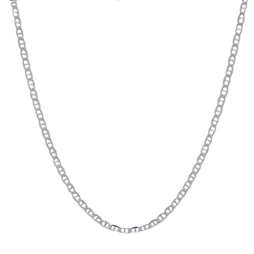 (Pori Jewelers 925 Sterling Silver 3.5mm Marina Link Chain Necklace - Made in Italy - Lobster Claw Closure (24))