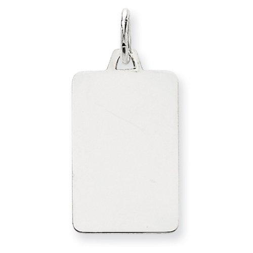 Icecarats Créatrice De Bijoux En Or 14K Blanc Ordinaire 0,011 Jauge De Charme Gravable Rectangulaire