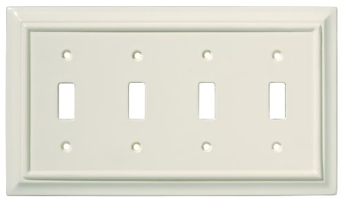 [BRAINERD 126450 Wood Architectural Quad Toggle Switch Wall Plate / Switch Plate / Cover, Light Almond] (Quad Light Switch Cover)