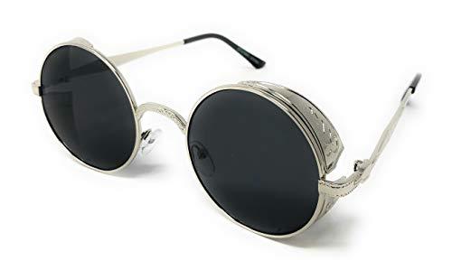 WebDeals - Steampunk Gothic Metal Fahion Frame Round Circle Sunglasses (Silver, Smoke)
