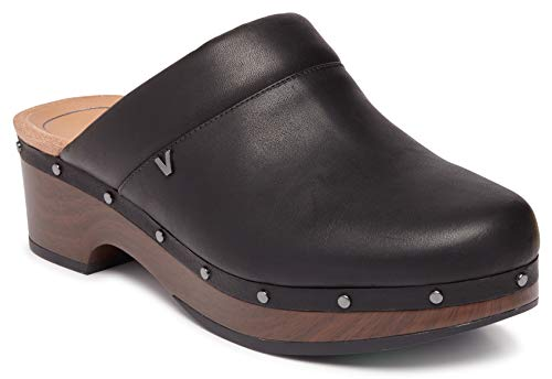Vionic Women's Day Kacie Clog - Ladies Slip-on Mule with Concealed Orthotic Arch Support Black Leather 11 M US