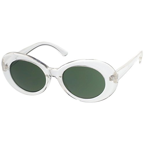 sunglassLA - Retro Oval Sunglasses With Tapered Arms Neutral Colored Round Lens 51mm (Clear / - Sunglasses Acne