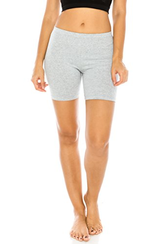 The Classic Women's Stretch Cotton Jersey Bike Shorts in Gray - Medium