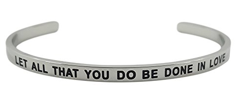 ''Let All That You Do Be Done in Love 1 Corinthians 16:14'' Christian Bible Verse Religious Positive Message Cuff Bangle Bracelet, Inspirational Jewelry Gifts for Women, Teen Girls by GLAM (Image #4)'