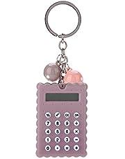 FAMKIT Mini kalkulator, mini przenośny uroczy ciasteczka styl breloczek kalkulator cukierkowy kolor kieszonkowy kalkulator do breloka dekoracja studencki kalkulator kieszonkowy z cukierkowym kolorem (szary + fioletowy)