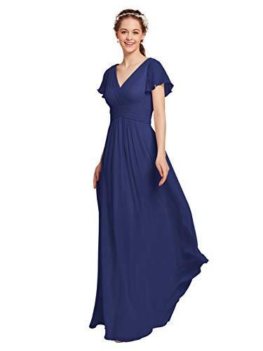 AW Chiffon Bridesmaid Dress with Sleeves V-Neck Wedding Maxi Evening Party Dress Long Plus Size Prom Gowns, Royal Blue, US22