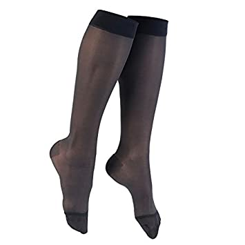 2c6674b126 Image Unavailable. Image not available for. Color: AW Style 16 Sheer  Support Closed Toe Knee Highs - 15-20 mmHg Black X