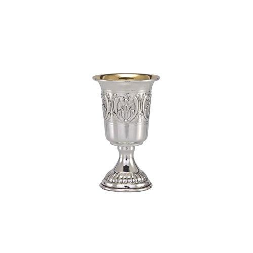 Hazorfim Malta Stem Liquor Cup - Narrow Sterling silver 925 kiddush cup saucer plate wine shabbat Shabbos bar mitzva wedding gift handmade Israel Judaica by Hazorfim