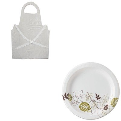 KITBWK390DXEUX9PATH - Value Kit - Dixie Pathways Mediumweight Paper Plates (DXEUX9PATH) and Boardwalk Disposable Apron (BWK390)