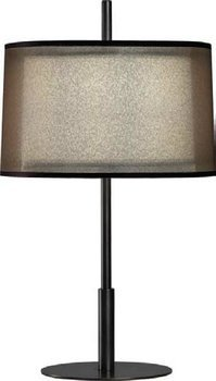 Robert Abbey Z2184 Lamps with Bronze Fabric Inner and Ascot White Outer Shades, Deep Patina Bronze Finish