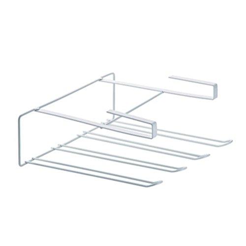 Yeefant 1Pcs Multi Function Eco-Friendly Wrought Iron Tissue Holder Storage Rack Cupboard Hanging Hook Hanger Chest Organizer for Kitchen Bathroom,1x0.3x0.8 Ft, White - Mommy Hook Stroller Hanger