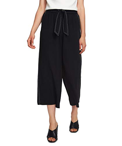 1.State Women's Contrast Stitch Wide Leg Crop Pants Rich Black Small