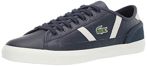 Lacoste Men's Sideline Sneaker, Navy/off white Leather, 13 Medium US