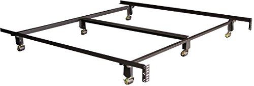 (All American King Heavy Duty Deluxe Bed Frame Six (6) Leg with Wide Wheels Locking)