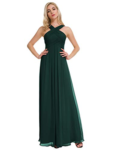 Alicepub Pleated Chiffon Bridesmaid Dresses Formal Party Evening Gown Maxi Dress for Women, Dark Emerald, US8