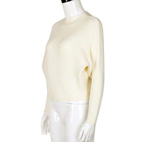Tongshi Mujeres de hombro grueso punto de punto Oversize suéter holgado puente alto Beige